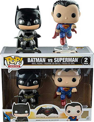 Funko 7005–Batman V Superman, Pop Vinyl Figure 2Pack Batman and Superman Metallic Version