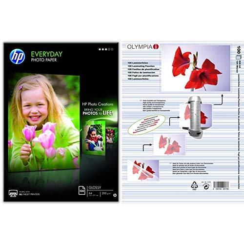 HP Q2510A Everyday Glossy Standard Fotopapier 200g/m² A4 100 Blatt, weiß & Olympia 9176 Laminierfolien, 125 Mic, DIN A4, 100 Stück