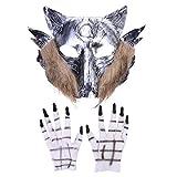 Amosfun Máscara de Halloween Terror Devil Fancy Dress Party Props Cubierta de la Cabeza de...