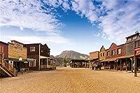 HD 7x5ft古い西部のカウボーイの町の写真撮影の背景ワイルドウェストスタイルバーワゴン馬車の背景の画像キッズマン大人の写真ブース撮影ビニールスタジオの小道具