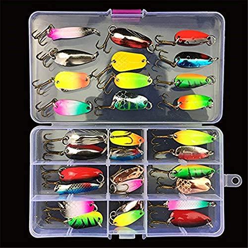 31Pcs Kits de señuelos para Pesca, LAEMALLS Cebos Artificiales de Pesca Cebo Duros/Suaves, Ojos 3D, Accesorios Cebos Articulos de Pesca para la Pesca, Trucha, Bagre, Bass, Salmón y Lucio#3