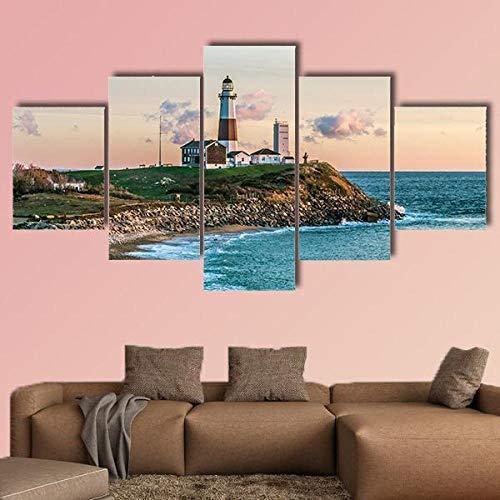 IMXBTQA Cuadros Decor Salon Modernos 5 Piezas Lienzo Grandes XXL Murales Pared Hogar Pasillo Decor Arte Pared Abstracto Olas del Océano Atlántico En La Playa HD Impresión Foto 150X80Cm Regalo