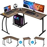 GreenForest L Shaped Gaming Computer Desk 58.1'', L-Shape Corner Gaming Table, Writing Studying PC Laptop Workstation 3-Piece for Home Office Bedroom, Dark Walnut