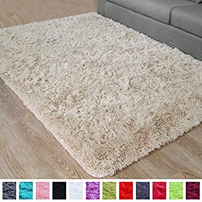 PAGISOFE Fluffy Hairy High Pile Furry Area Rugs Shag Throw Faux Fur Rug Carpet for Living Room Bedside Runner Decorations Modern Decor for Home Accents Decor for Kids Bedroom Footcloth 4x5 (Beige)