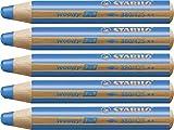 Lápiz de color multifunción STABILO Woody 3 en 1 - Caja con 5 unidades - Color azul