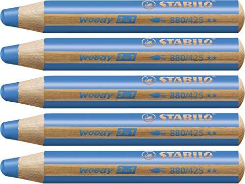 Matita colorata Multi-Funzione - STABILO woody 3 in 1 - Confezione da 5 - Blu Cobalto