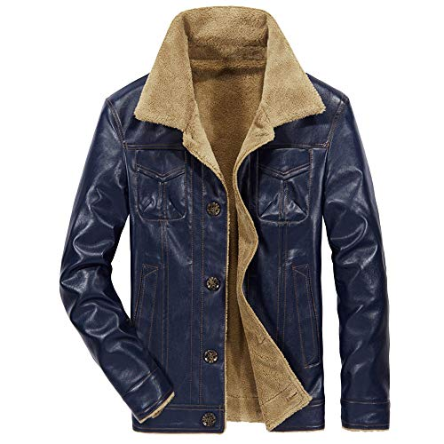 Aiserkly Herren Lederjacke Mit Stehkragen, Männer Winterjacke Parka Jacke Übergangsjacke Bomberjacke Bikerjacke Trucker-Jacke Strickjacke Mantel Outwear Blau 4XL