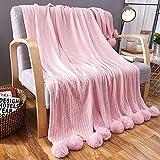 MYLUNE HOME 100% Algodón Manta de Punto Cobertura en sofá y Cama para Ropa de Cama y Siesta 150x200cm (Pink)