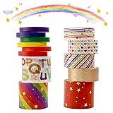 Washi Tape Set,13 rollos cinta adhesiva decorativa Juego de artesanal,arcoíris de hoja dorada múltiples patrones celo de colores,3m lindo varios tamaños,para DIY Crafts Scrapbooking,Regalo Envoltorio