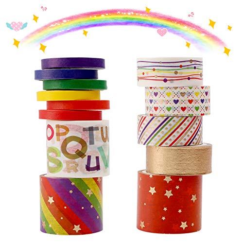Washi Tape Set,13 rollos cinta adhesiva decorativa Juego de artesanal,arcoíris de hoja dorada múltiples patrones celo de...