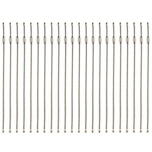 UOOOM 30Stk. Stahldraht Schlüsselring Edelstahl Draht Schlüsselanhänger aus Drahtseil mit Drehverschluß (30Stk.)