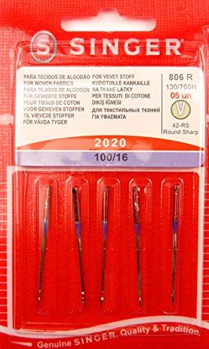 Singer 5 Original Nähmaschinen Nadeln 2020 Stärke 100/16 für Gewebte Stoffe 130/705