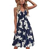 BemeyourBBs Vestido de verano con correa de espaguetis para mujer, floral, leopardo, rayas, sexy con cuello en V, vestido de playa, vestido corto para mujer, azul oscuro, XX-Large