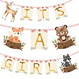 Woodland Animal Creatures ITS A GIRL Banner for Baby Shower Decoration Deer, Fox, Raccoon and Bear/Wild One, Boho Themed Party Supplies