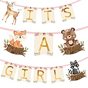 Guarantee an Unforgettable Celebration: Take your baby shower and Gender reveal party to the next level! A sweet banner the way you need. This Woodland Animals Banner will definitely add life and a cute look to your venue and give your family and fri...