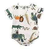 """""""N/A"""" Baby Strampler Reine Baumwolle Cartoon Animal Print Tasche Hüfte ist für Neugeborene Krabbeln im Sommer geeignet,White,A"""