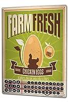カレンダー Perpetual Calendar Sayings Fresh eggs Tin Metal Magnetic