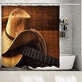 Cortina de Ducha Cuerda de Guitarra y Sombrero de Vaquero en el Piso de Madera Tema de la música Country Americana Foto Impresa Cortinas de baño marrones-W180cmxH180cm