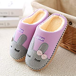 YANGLAN Women's winter shoes, breathable slippers, wearing non-slip cotton house house, warm plush shoes Household slippers (Color : Purple, Size : (37~38))