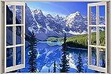 Amgwum DIYPintarpornúmerosMontaña Nevada Junto al Lago Colorea por números en la de la Lona de Lino con 3 Pinceles y Colores Brillantes Sala de Estar decoración del hogar40x50cm (SinMarco)