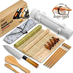 【High-Quality】Sushi making kit is constructed of top quality natural bamboo material. You will find, with our products there are no splinters and no unraveling of the cotton string stitching. 【Easy To Use】Whether you are a beginner, a world class pro...