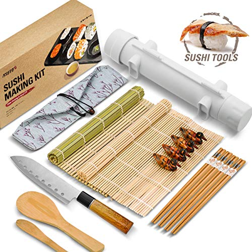 ISSEVE Sushi Making Kit, Bamboo Sushi Mat, All In One Sushi Bazooka Maker with Bamboo Mats, Bamboo Chopsticks, Paddle, Spreader, Sushi Knife, Chopsticks Holder, Cotton Bag, DIY Sushi Roller Machine