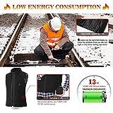 Keymao Elektrische Beheizte Weste Größe Temperatur Einstellbar Warmer Weste USB-Lade Beheizter Kleidung Gilet Unisex und Schwarz (Schwarz, einstellbar) (Fleece) - 4