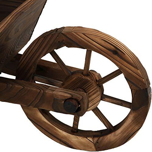 Sunnydaze Wooden Decorative Wheelbarrow Planter, for Patio, Lawn and Garden - 35 x 10 x 11 Inches