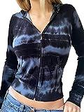 Geagodelia Sudaderas con capucha para mujer estampadas Tie Dye Sudaderas Slim Fit con cremallera de Manga Larga con Bolsillos Hoodie Casual para Otoño Primavera, turquesa, XL