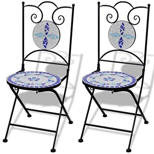Lingjiushopping mosaïque de bistrot Bleu/Blanc Lot de 2 Couleur : Bleu/Blanc Matériau : Acier laqué Structure en Fer en céramique + Assise