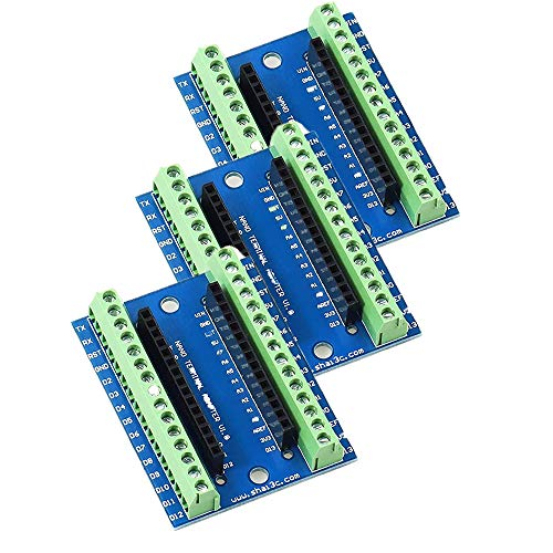 3 Stück Nano Terminal Adapter I/O Shield Erweiterungskarte, Erweiterungsboard für Arduino Nano V3.0 ATMEGA328P Modul Board