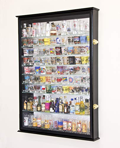 XL Shot Glass Display Case Rack Holder Cabinet w/Mirror Backed and 11 Glass Shelves -Black