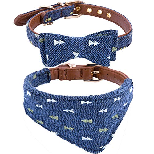 Puppy Collars for Small Dogs - StrawberryEC Adjustable Puppy Id Buckle Collar Leather. Cute Plaid Bandana Dog Collar (Bow+Bandana-Navy)