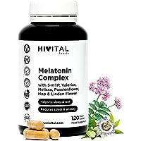 Melatonina Complex | 120 cápsulas veganas para 4 meses | Con 5-HTP, Valeriana, Melisa, Pasiflora, Amapola Californiana, Lúpulo y Tila | Mejora el sueño y el descanso, y reduce la ansiedad y el estrés