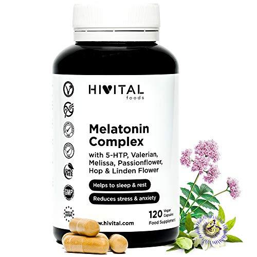Melatonina Complex | 120 cápsulas veganas para 4 meses | Con 5-HTP, Valeriana, Melisa, Pasiflora, Amapola Californiana,
