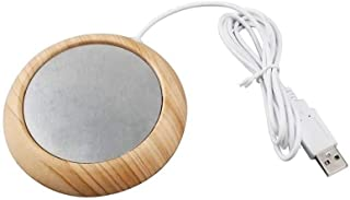 USB Coffee Mug Warmer Coaster, Electric Cup Heater, Tea Coffee Beverage Warmer for Office/Home Use (Light Wood Grain)