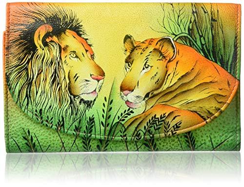 Anna by Anuschka Scheckbuch-Geldbörse, handbemalt, groß, dreifach gefaltet, aus Leder, Mehrere (Lion in Love), Einheitsgröße