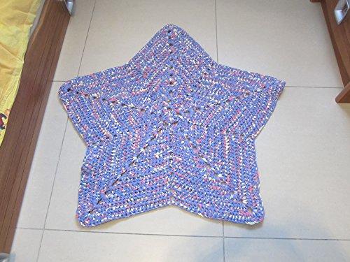 Tapis étoile pour chambre bébé ou enfant, tapis au crochet en trapilho imprimé, déco nursery ou chambre enfant, tapis étoile bleu