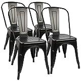 4 industrial retro metal comedor sillas moderna cocina taburete bar industrial...