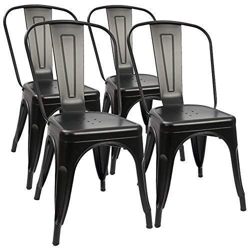 00 sedie da pranzo in metallo stile metà secolo, da utilizzare per casa, cucina, caffè, ristorante, sedia impilabile (set da 4) (nero)