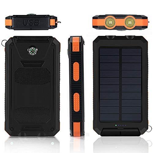 AEU Cargador Solar Portátil Power Bank Solar 30000Mah, Batería Externa Solar con Carga Rápida 2 Salidas USB Y 2 LED Linterna SOS Y Brújula Impermeable Cargadores Portátiles, para Smartphones Y iPad