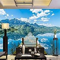 ranyan 写真の壁紙モダンな青い空湖自然風景3D壁壁画ウッドブリッジ背景壁装3D装飾-130x60cm