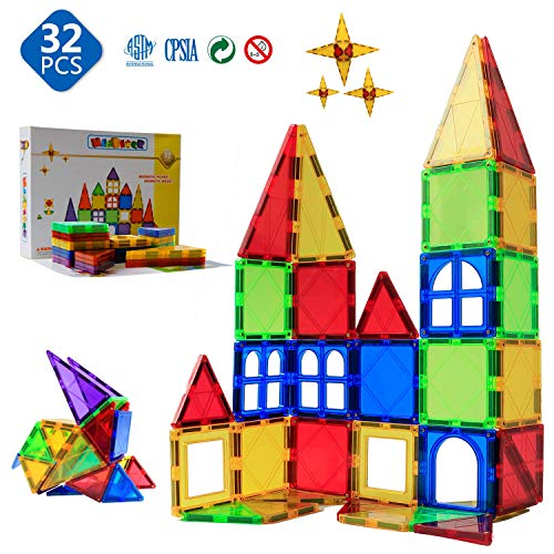 Magnetic Blocks - Magnetic Tiles for Kids - 3D Magnetic Building Blocks for Toddlers Building Blocks with Clear Color Educational Toys Set 32 Pieces