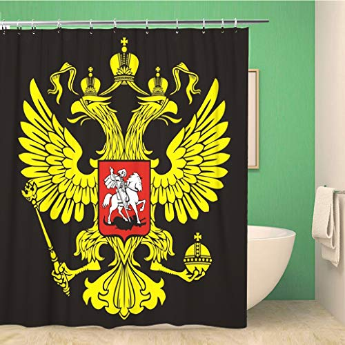 Awowee Decor Duschvorhang, russischer Zweikopf-Adler, Symbol des Imperialen, 180 x 180 cm, Polyester, wasserdicht, Badvorhänge Set mit Haken für Badezimmer