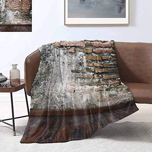 RenteriaDecor Rustic Throw Blanket Worn Looking Wall Photograph with Wooden Floors Ancient Building Structure 50x70 Inch Spring Summer Autumn Throws for Couch Bed Sofa