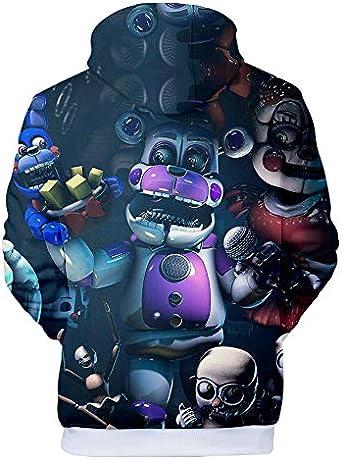 3D FNAF Five Ni-gh-ts at Fre-ddy Felpa con cappuccio a fumetti stampa coulisse Pullover Sweartshirt per bambini ragazza ragazzo adulto