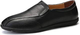 [OceanMap] 大きいサイズ レザー ホワイト スリッポン カジュアルシューズ メンズ 革靴 ビジネスシューズ モカシン ローファー 黒 28cm 28.5cm 小さいサイズ 24cm ブルー ダークブラウン レッド ステッチ イギリス風 おしゃれ