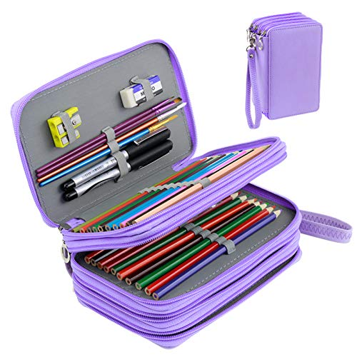 YOUSHARES 72 Slots Pencil Case - PU Leather Handy Multi-Layer Large Zipper Pen Bag with Handle Strap for Colored/Watercolor Pencil (Purple)