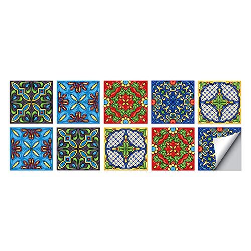 Estilo español Azulejos Adhesivos Cocina e Baño Pegatinas de Baldosas Vinilos decorativo de Muebles Vinilos pared Baño Cocina Azulejos,10 Piezas -15x15cm