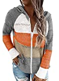 Biucly Womens Stripes Color Block Knit Sweater Zip Up Hoodies Long Sleeve Lightweight Drawstring Jacket Pullover Sweatshirts Sweaters for Women Fall Winter,US 16-18(XL),Grey,White,Red,Brown